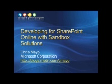 Session 2 - Part 1 - Developing for SharePoint Online with Sandbox Solutions