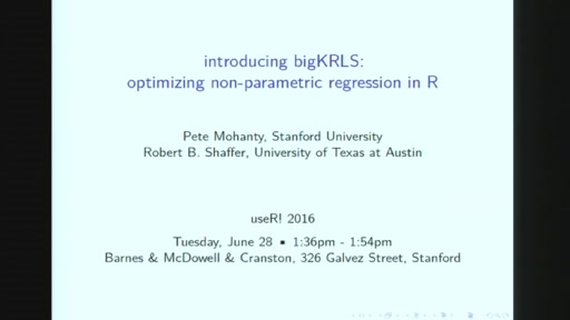bigKRLS: Optimizing non-parametric regression in R