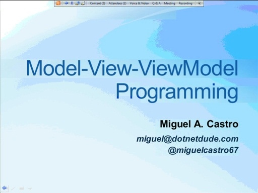 NYC DevReady: MVVM - Session 2 (of 5) - Programming with MVVM - Part 1