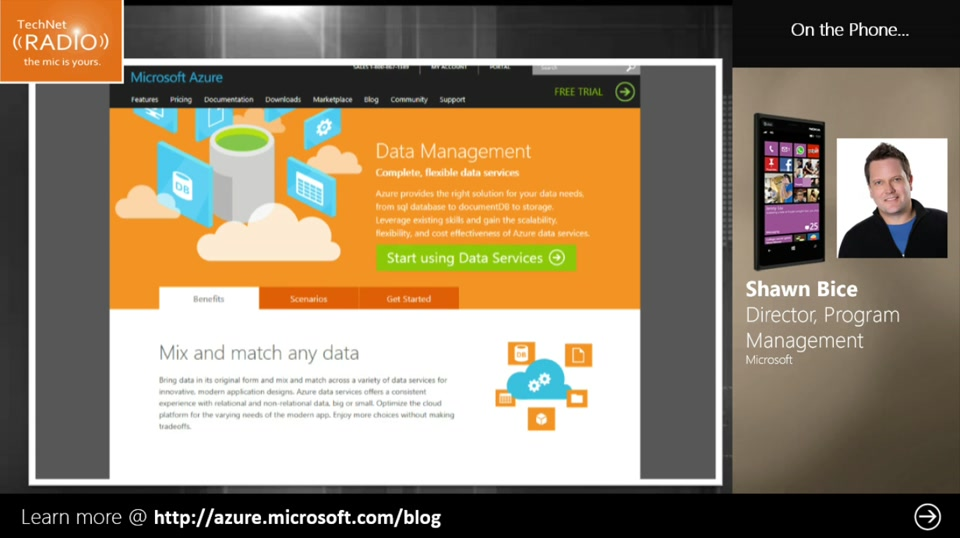 TechNet Radio: Data in the Cloud (Part 1) - How are Customers using Azure?