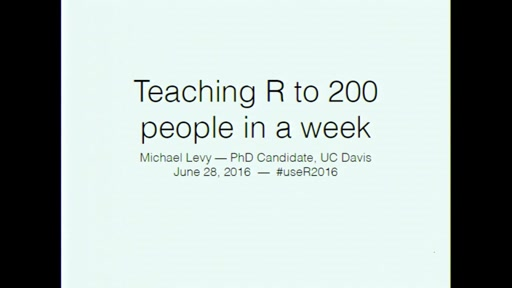 Teaching R to 200 people in a week