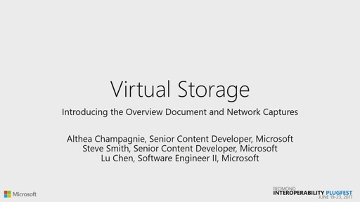 Virtual Storage: Introducing the Overview Document and Associated