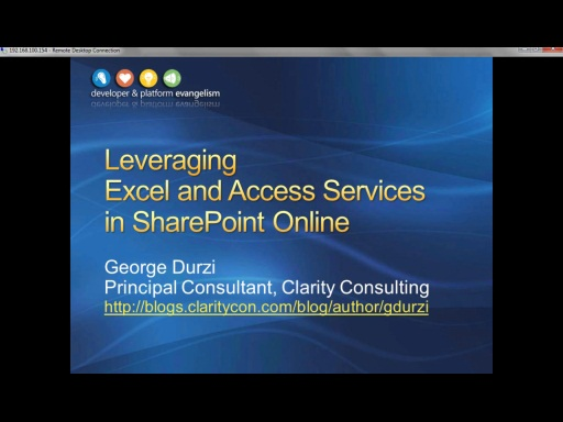 Session 5 - Part 1 - Leveraging Excel and Access Services in SharePoint Online
