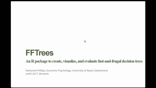FFTrees: An R package to create, visualise and use fast and frugal decision trees