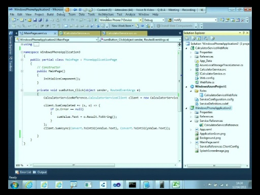 MSDN Live Meeting - Lunchbox - Developing a Windows Phone 7 Application at Microsoft leveraging Windows Azure