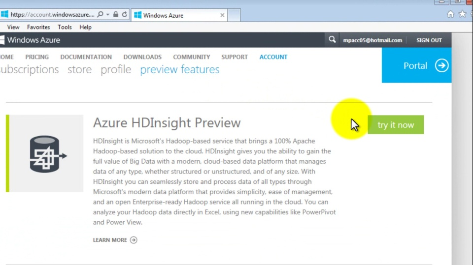 Enable a Windows Azure Preview Feature (video)