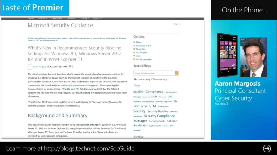 Taste of Premier: Security Guidance for Windows 8.1, Windows Server 2012 R2 and IE 11