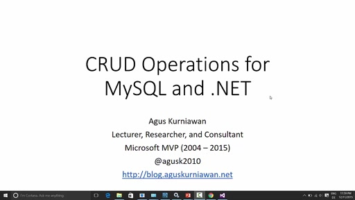 01 Agus Kurniawan -CRUD Operation for MySQL and .NET (Part 2)