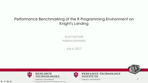 Performance Benchmarking of the R Programming Environment on Knight's Landing
