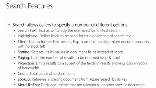 Adding Microsoft Azure Search to Your Websites and Apps: (04) Implementing Search Features, Such As Suggestions, Faceting, Hit Highlighting, and Filtering