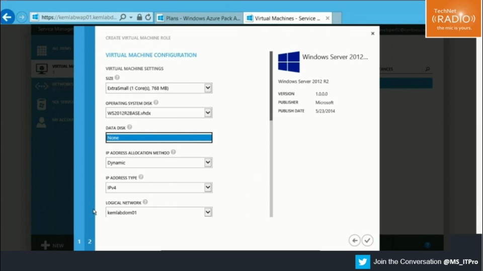 TechNet Radio: (Part 12) Building Your Hybrid Cloud - Windows Azure Pack and the Virtual Machine Role Gallery