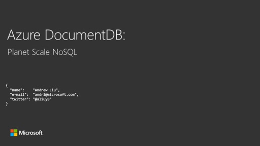 Azure DocumentDB: Planet Scale NoSQL