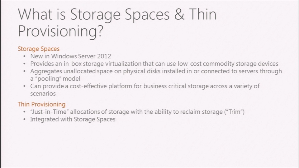 Windows Server 2012: Storage Spaces and Thin Provisioning