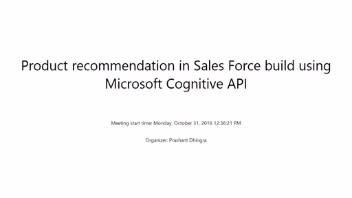 Add Product Recommendation in SalesForce using Microsoft Machine Learning API