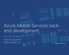 02 | Azure moble Services back-end development