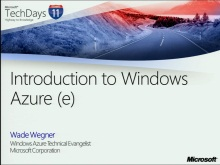 TechDays 11 Basel - Introduction to Windows Azure