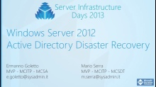 WS03 - Windows Server 2012 Active Directory Disaster Recovery