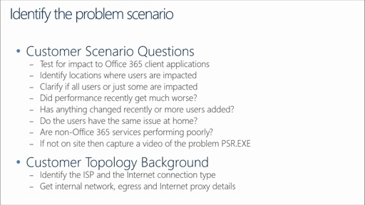 Office 365 Performance Management: (09) Preparing for a Performance Troubleshooting Engagement