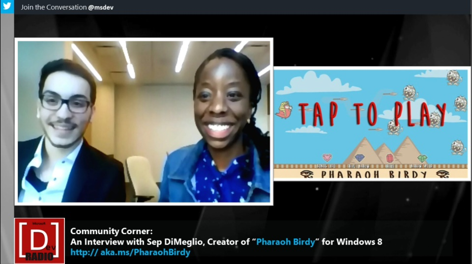 "Microsoft DevRadio: Community Corner - An Interview with Sep DiMeglio, Creator of ""Pharaoh Birdy"" for Windows 8"