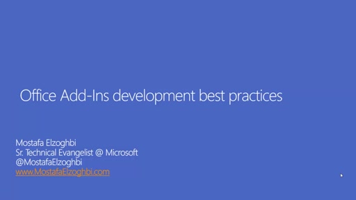 Office Add-Ins development best practices
