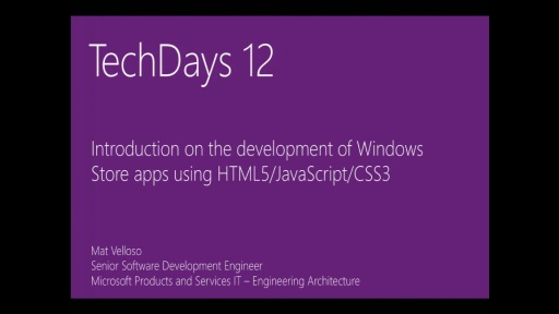 Introduction on the development of Windows Store apps using HTML5/JavaScript/CSS3 (e)