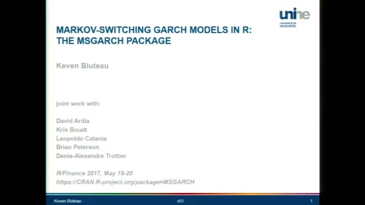 Markov-Switching GARCH Models in R: The MSGARCH Package