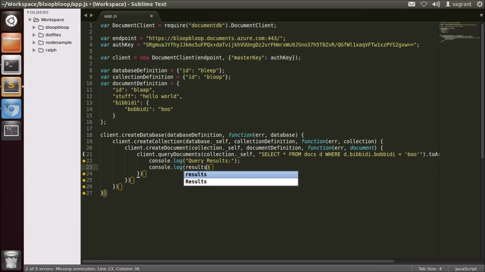 Azure Demo: Getting started with Azure DocumentDB on Node.js in Linux