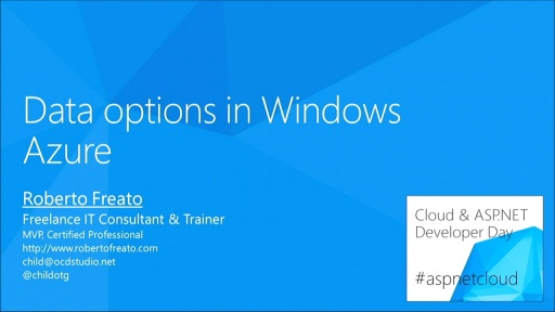 Data options in Windows Azure - registrazione incompleta