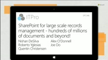 SharePoint for large scale records management - hundreds of millions of documents and beyond!