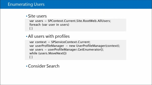 Developing SharePoint Server Advanced Solutions: (05) Managing and Accessing User Profile Data