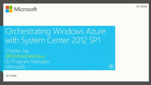Orchestrating Azure and System Center 2012