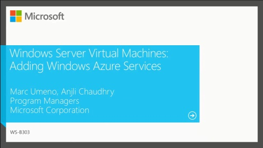 Windows Server Virtual Machine: Adding Windows Azure Services