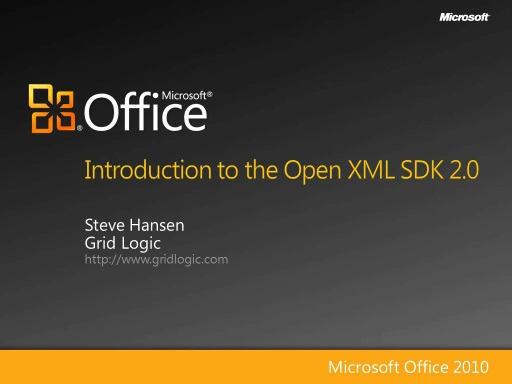 Introduction to Open XML SDK 2.0 - Part 1