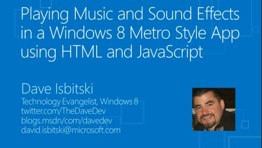 Playing Music and Sound Effects in a Windows 8 Metro Style App using HTML and JavaScript