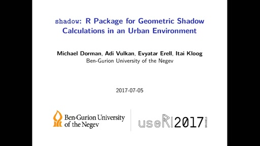 **shadow**: R Package for Geometric Shade Calculations in an Urban Environment