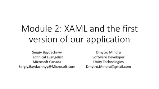 Part 2: XAML and the first version of our apps