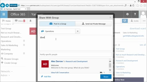Yammer Administration and Power User Best Practices: (07) Power User Hints and Tips