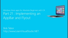 Part 21: Implementing an AppBar and Flyout