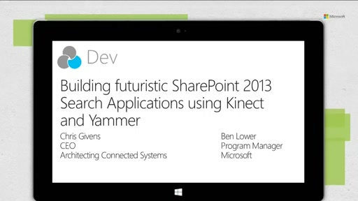 Futuristic Search applications using Kinect and Yammer!