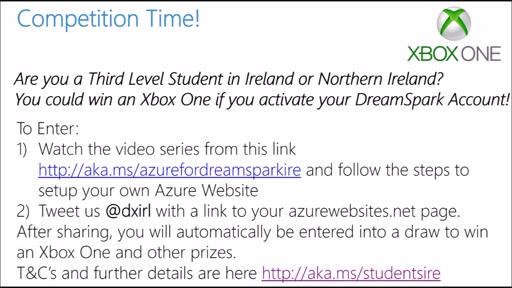 Student Competition (Ireland/Northern Ireland): Activate Azure for DreamSpark - you could win an Xbox One