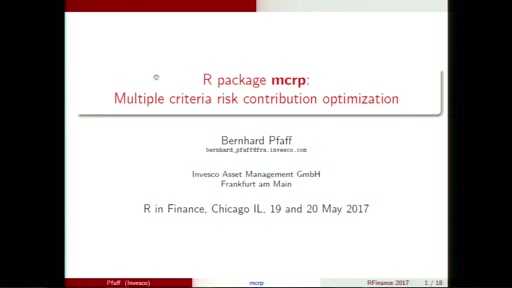 R package: mcrp: Multiple criteria risk contribution optimization