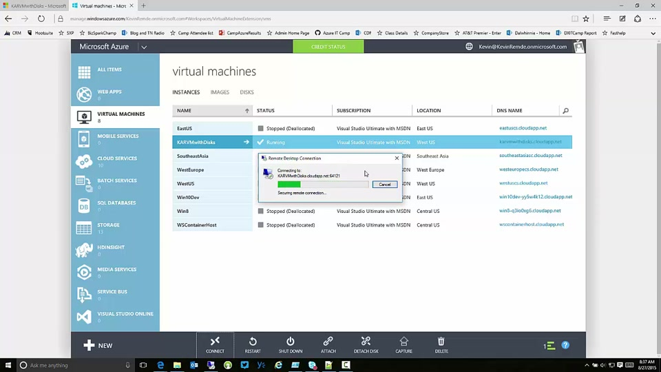 Logging On to a VM Running Windows Server on Microsoft Azure