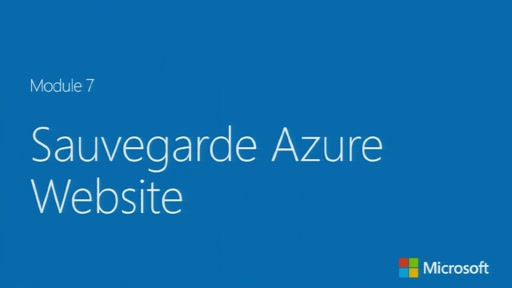 Sauvegarde Azure Website