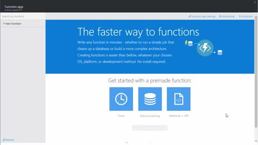 Create a webhook or API Azure Function