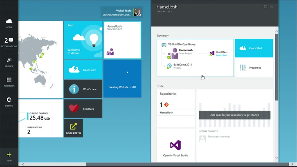 Vishal and Scott create a new startup with the new Azure Portal