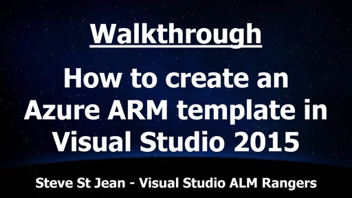 How to create an Azure ARM template in Visual Studio 2015