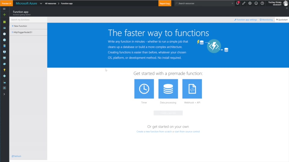 Create an Azure Function which binds to an Azure service
