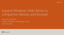 Expand Windows Hello Family to companion devices and browser