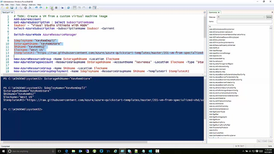 Create a Custom Virtual Machine Image in Azure Resource Manager with PowerShell