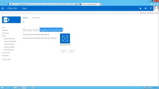 Create App for SharePoint for Office 365